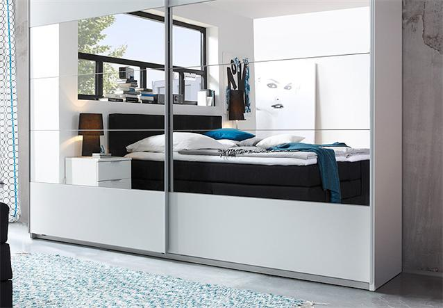schwebet renschrank penta kleiderschrank in wei mit spiegel 270 cm breit ebay. Black Bedroom Furniture Sets. Home Design Ideas