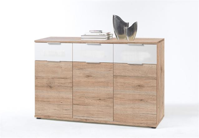 kommode universell sideboard anrichte san remo eiche hell wei ebay. Black Bedroom Furniture Sets. Home Design Ideas