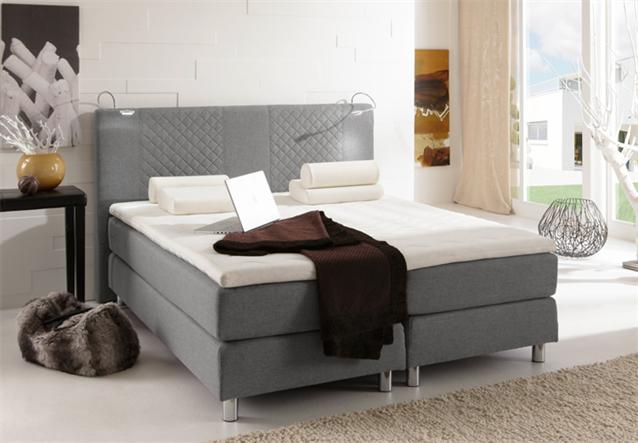 boxspring bett boston doppelbett inkl 7 zonen matratze in grau 140x200 cm ebay. Black Bedroom Furniture Sets. Home Design Ideas
