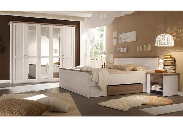 schlafzimmer luca landhaus kleiderschrank bett nachtkommode pinie wei trffel - Schlafzimmer Landhausstil Wei Modern