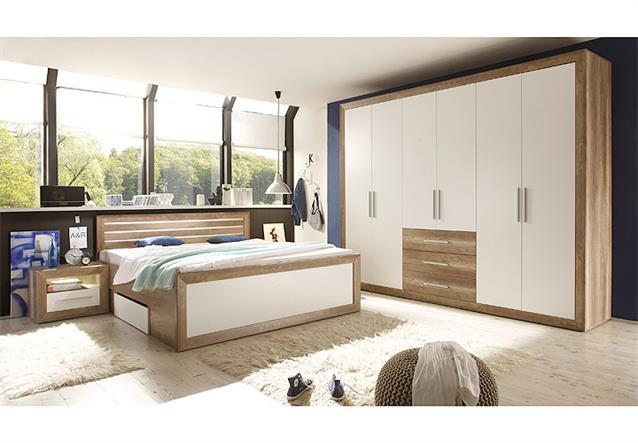 schlafzimmerset fernando schlafzimmer schrank bett nako canyon oak wei led ebay. Black Bedroom Furniture Sets. Home Design Ideas