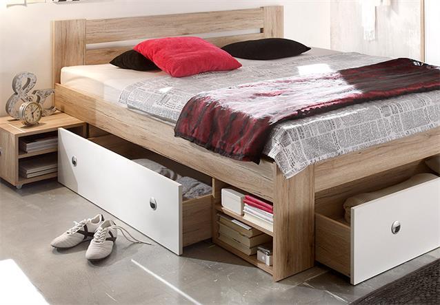 funktionsbett stefan bettanlage doppelbett nachtkommode bett mit schubk sten ebay. Black Bedroom Furniture Sets. Home Design Ideas