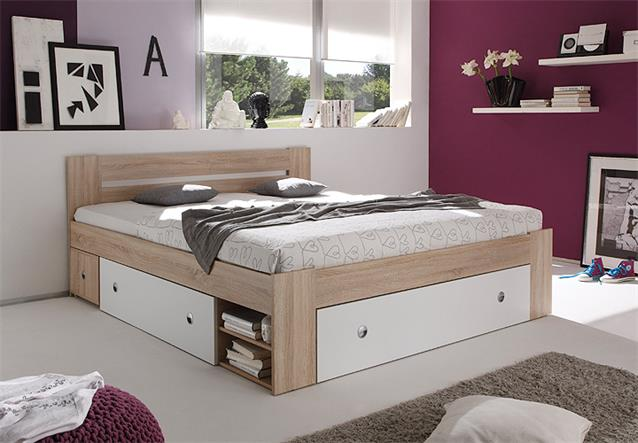 bett stefan funktionsbett schlafzimmerbett in sonoma eiche wei 180x200 ebay. Black Bedroom Furniture Sets. Home Design Ideas