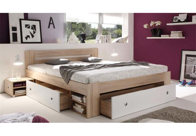 bett 140x200 cm funktionsbett stefan in sonoma eiche wei. Black Bedroom Furniture Sets. Home Design Ideas