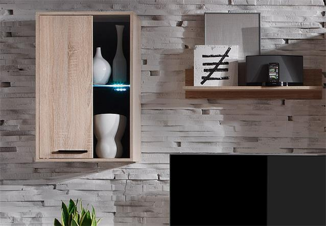 wohnwand final anbauwand wohnzimmer sonoma eiche inklusive led bielefeld. Black Bedroom Furniture Sets. Home Design Ideas