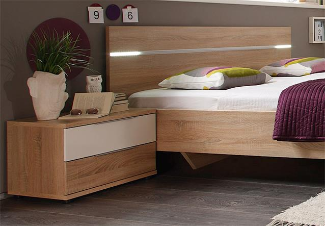 bettanlage pluto bett nachtkommode sonoma eiche wei glanz inkl led 180x200 ebay. Black Bedroom Furniture Sets. Home Design Ideas