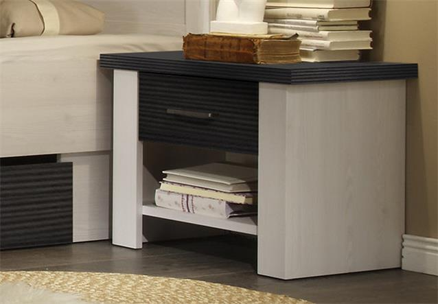 bettanlage luca bett in pinie wei und touchwood 180x200 inkl nachtkommode ebay. Black Bedroom Furniture Sets. Home Design Ideas