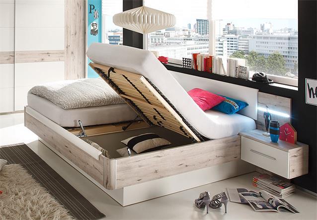 bett utah bettanlage in sandeiche wei 180x200 inkl nakos. Black Bedroom Furniture Sets. Home Design Ideas