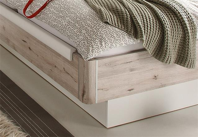 bett utah bettanlage in sandeiche wei 180x200 inkl nakos und led beleuchtung ebay. Black Bedroom Furniture Sets. Home Design Ideas