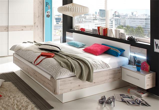 schlafzimmer set utah bett schwebet renschrank nako sandeiche und wei 4 teilig. Black Bedroom Furniture Sets. Home Design Ideas