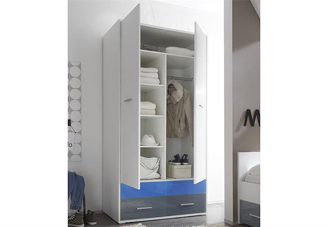 kleiderschrank colori dreht renschrank schrank wei und glas blau grau 100 cm ebay. Black Bedroom Furniture Sets. Home Design Ideas