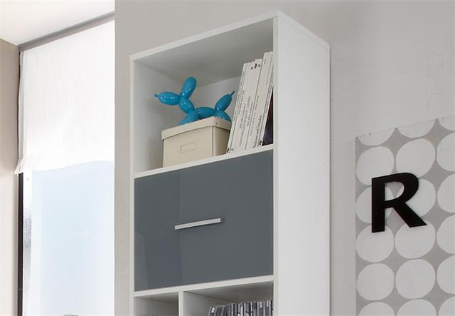 standregal colori regal b cherregal wei und glas blau grau mit 6 f chern ebay. Black Bedroom Furniture Sets. Home Design Ideas