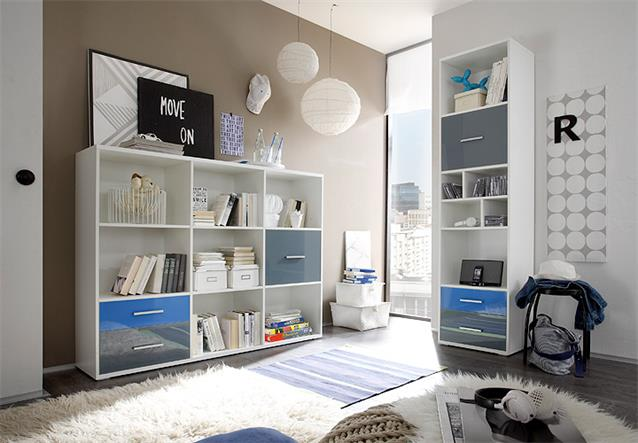 regal breit colori b cherregal schrank wei und glas blau. Black Bedroom Furniture Sets. Home Design Ideas