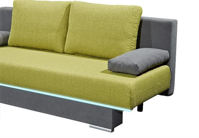 schlafsofa sina sofa funktionssofa in anthrazit und lime gr n inkl beleuchtung. Black Bedroom Furniture Sets. Home Design Ideas