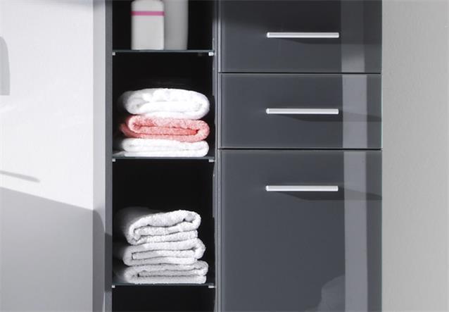 hochschrank grey grau hochglanz badezimmer bad schrank regal mit glasb den ebay. Black Bedroom Furniture Sets. Home Design Ideas