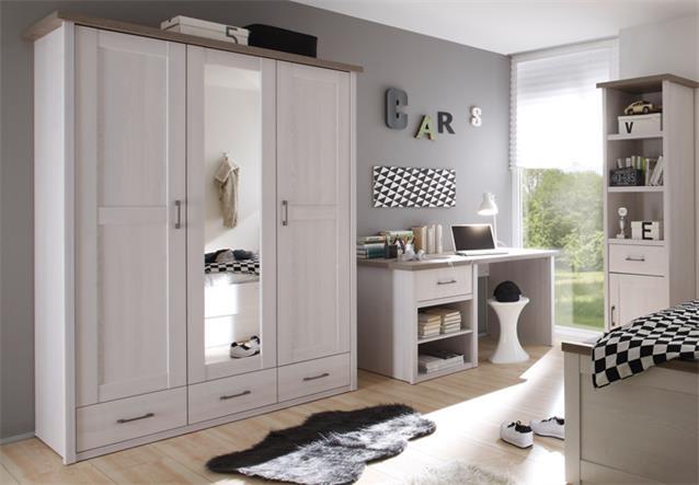 kleiderschrank luca jugendzimmer pinie wei absetzung tr ffel 3 trg mit spiegel. Black Bedroom Furniture Sets. Home Design Ideas