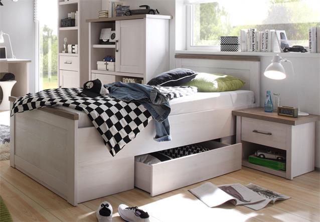 jugendbett luca jugendzimmer pinie wei absetzung tr ffel mit bettschubkasten ebay. Black Bedroom Furniture Sets. Home Design Ideas