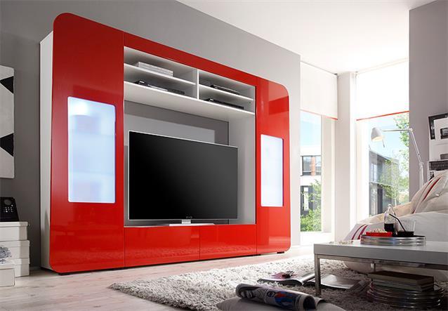 Mediawand kino 2 wohnwand anbauwand mit led in hochglanz for Wohnwand rot