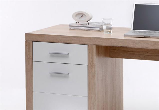 schreibtisch 1 can can computertisch pc tisch in san remo eiche und wei ebay. Black Bedroom Furniture Sets. Home Design Ideas