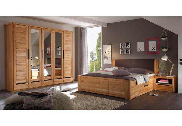 schlafzimmer colorado schrank bett nako set kernbuche teilmassiv spiegel. Black Bedroom Furniture Sets. Home Design Ideas