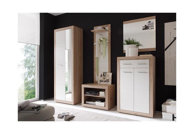 bank can can 5 sitzbank garderobe in sonoma eiche mit 2 f chern ebay. Black Bedroom Furniture Sets. Home Design Ideas