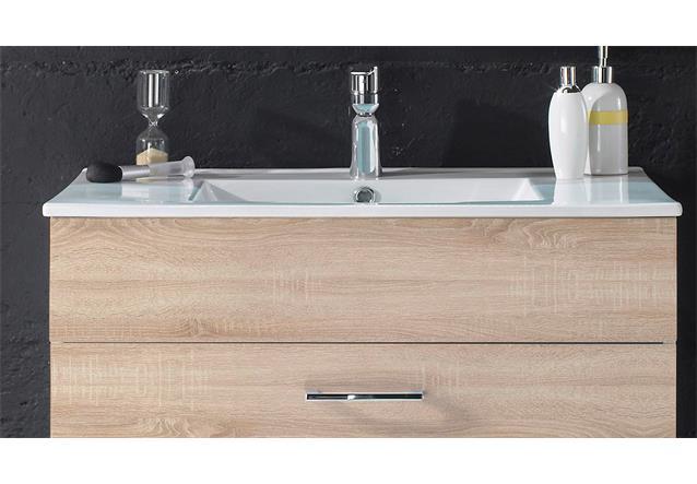 waschbeckenunterschrank splashi waschtisch badschrank sonoma eiche inkl waschbe ebay. Black Bedroom Furniture Sets. Home Design Ideas