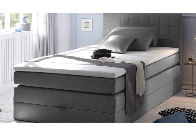 boxspringbett hawaiis bett schlafzimmerbett in grau mit topper 120x200 ebay. Black Bedroom Furniture Sets. Home Design Ideas