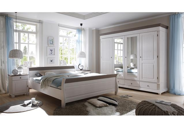 bett oslo in kiefer massiv wei und lava schlafzimmerbett doppelbett 180x200 cm ebay. Black Bedroom Furniture Sets. Home Design Ideas