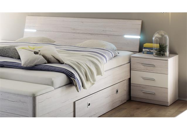 bettanlage mars xl wei eiche wei inkl led und bettkasten bett nachtkommode. Black Bedroom Furniture Sets. Home Design Ideas