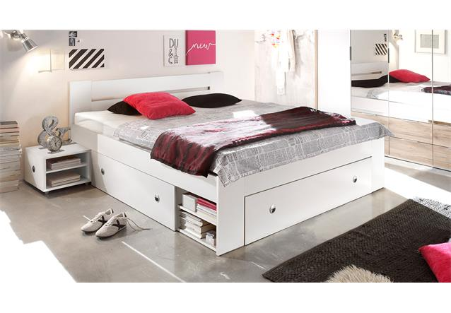 jugendbett bett 140x200 stefan funktionsbett bettanlage mit nachtkommoden wei ebay. Black Bedroom Furniture Sets. Home Design Ideas