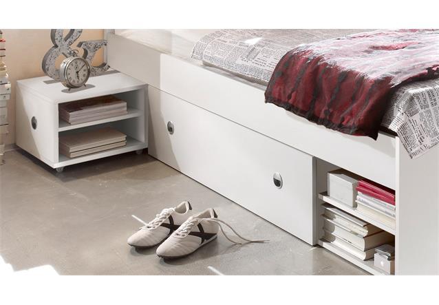 bett stefan funktionsbett schlafzimmerbett bettanlage mit nako in wei 140x200 ebay. Black Bedroom Furniture Sets. Home Design Ideas