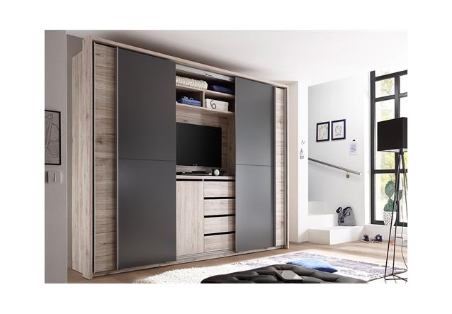 schwebet renschrank cinema schrank kleiderschrank in sandeiche lava mit tv fach. Black Bedroom Furniture Sets. Home Design Ideas