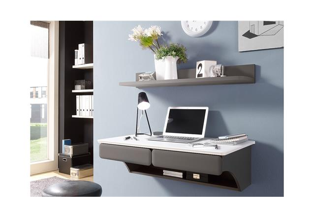 b ro desk schreibtisch wandboard kombi set in mdf wei matt und lava 2 teilig ebay. Black Bedroom Furniture Sets. Home Design Ideas