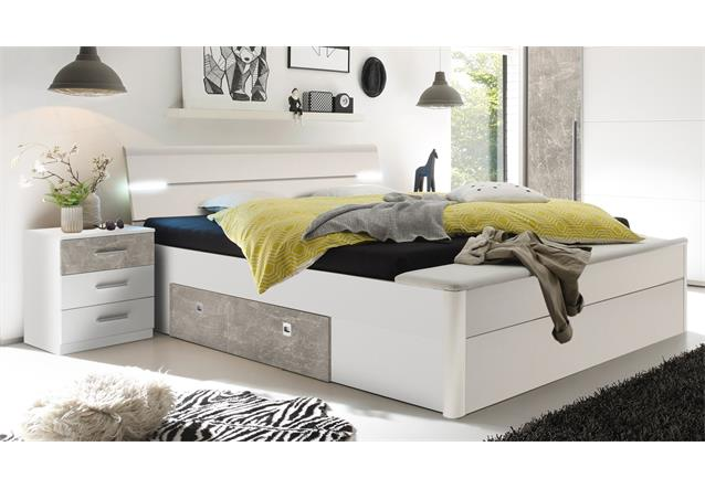 schlafzimmer set match mars schrank bett mit led nachtkommode 180x200 wei beton ebay. Black Bedroom Furniture Sets. Home Design Ideas