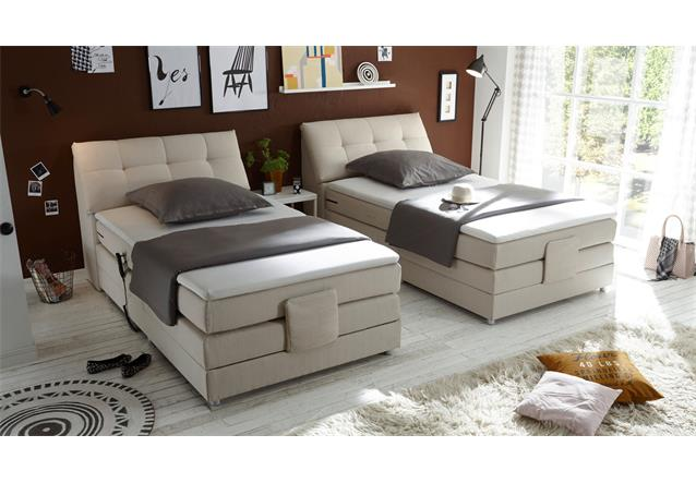 boxspringbett concort bett in stoff creme inkl motor und topper 120x200 cm ebay. Black Bedroom Furniture Sets. Home Design Ideas