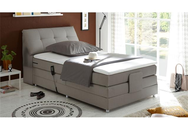 boxspringbett concort bett in stoff silber inkl motor und topper 120x200 cm ebay. Black Bedroom Furniture Sets. Home Design Ideas