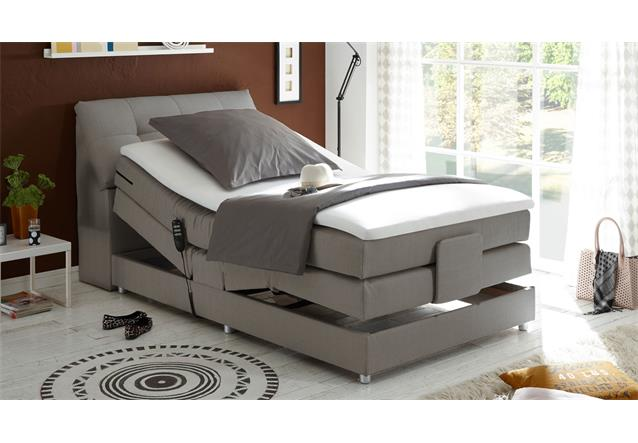 boxspringbett concort bett in stoff silber inkl motor und. Black Bedroom Furniture Sets. Home Design Ideas