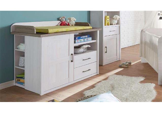 wickelkommode luca wickeltisch kommode f r babyzimmer in pinie wei und tr ffel ebay. Black Bedroom Furniture Sets. Home Design Ideas