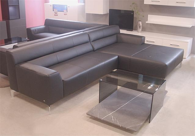 sofa rolf benz neo sob 300 mit ottomane rechts in leder schwarz ebay. Black Bedroom Furniture Sets. Home Design Ideas