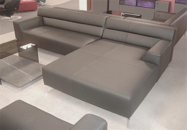 sofa rolf benz neo sob 300 mit ottomane rechts in leder schwarz ebay. Black Bedroom Furniture Sets. Home Design Ideas