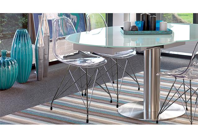 stuhl crystal esszimmerstuhl metall chrom und transparent. Black Bedroom Furniture Sets. Home Design Ideas