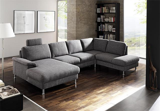 wohnlandschaft bonita ecksofa grau inkl kopfst tze und schubkasten 206x353 ebay. Black Bedroom Furniture Sets. Home Design Ideas
