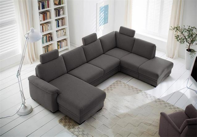 wohnlandschaft ks 5218 ecksofa in grau mit bettfunktion und bettkasten ebay. Black Bedroom Furniture Sets. Home Design Ideas