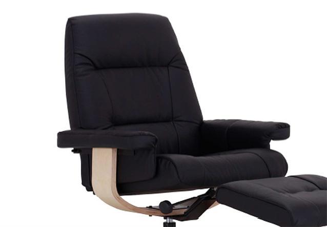 relaxsessel mit hocker evano sessel in leder schwarz buche massiv neu ebay. Black Bedroom Furniture Sets. Home Design Ideas