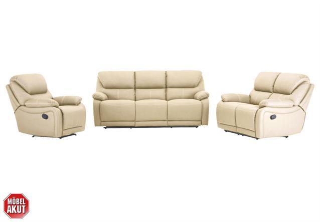 2er sofa berano polsterm bel in beige wei mit relaxfunktion neu ebay. Black Bedroom Furniture Sets. Home Design Ideas