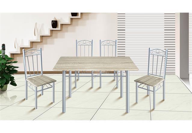 essgruppe akut tisch mit 4 st hlen tischgruppe k chen st hle metallgestell holz ebay. Black Bedroom Furniture Sets. Home Design Ideas