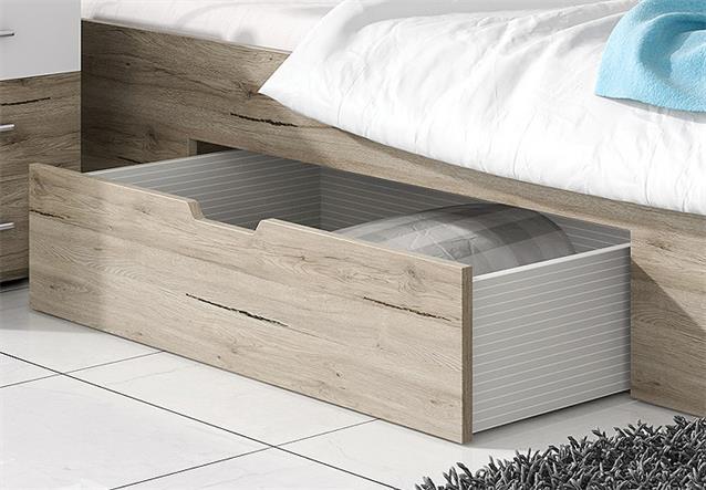 bett berlin futonbett doppelbett san remo eiche hell wei mit bettkasten 160x200. Black Bedroom Furniture Sets. Home Design Ideas
