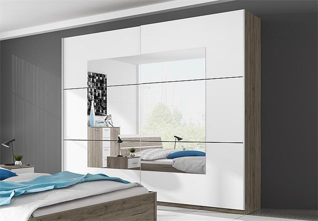 schlafzimmer set berlin bett kleiderschrank nakos san remo eiche wei 4 tlg ebay. Black Bedroom Furniture Sets. Home Design Ideas