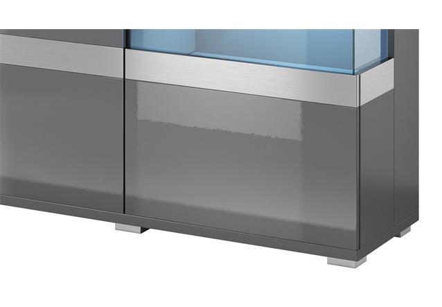 sideboard maxi ea 3 t rig anthrazit matt front hochglanz kommode mit glas 180 cm ebay. Black Bedroom Furniture Sets. Home Design Ideas