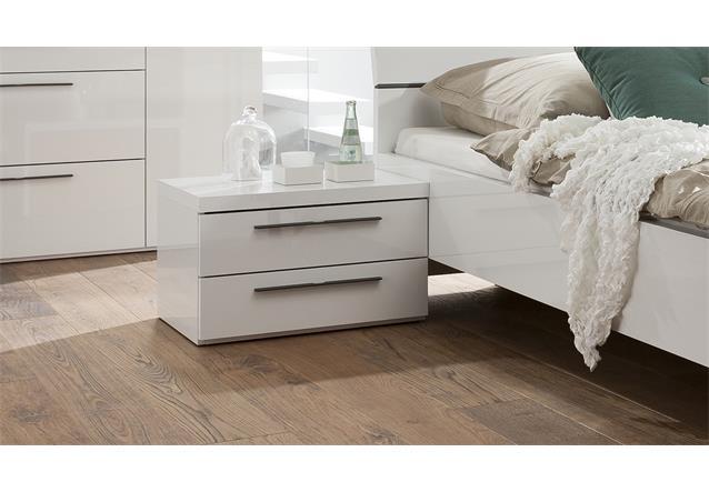 nachtkommode attimi nachtschrank nako in wei hochglanz mit metallgriffen ebay. Black Bedroom Furniture Sets. Home Design Ideas